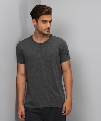 ADIDAS Solid Men's Round Neck Grey T-Shirt