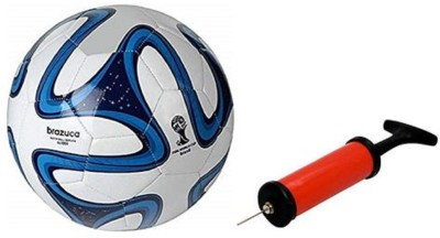 Aristo Blue Brazuca Football with Inflating Air Pump Football - Size: 5