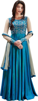 Ethnic Yard Faux Georgette Embroidered Semi-stitched Salwar Suit Dupatta Material