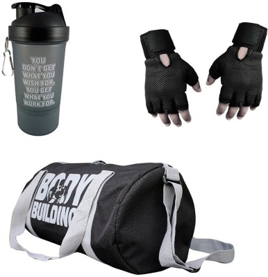 Vellora Classic combo Gym Bag And Gym Glove With Shaker Wrist Support Combo Polyester Long Lasting material Gym & Fitness Kit