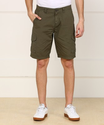 Pepe Jeans Solid Men's Dark Green Cargo Shorts