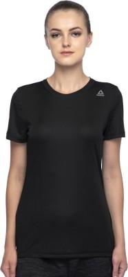 REEBOK Solid Women's Round Neck Black T-Shirt