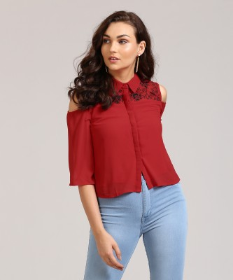 AND Casual Cold Shoulder Embroidered Women Red Top