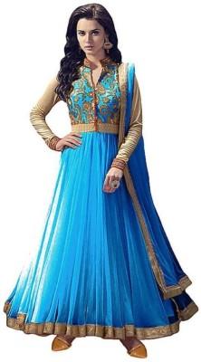 sereneva sales Net Self Design, Embroidered Semi-stitched Salwar Suit Dupatta Material