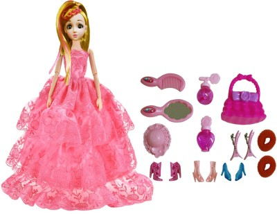 Emob Gorgeous Princess Doll with Pretty Gown and Fashion Accessories for Kids