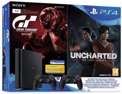 Sony Ps4 Slim Console with extra Dualshock Controller 1TB GB with Uncharted Lost Legacy, GT Sport