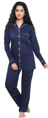 Boring Dress Women Printed Blue Night Suit Set