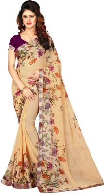 Shoppershopee Floral Print Bandhej Faux Georgette, Printed Silk Saree