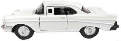 Miss & Chief 1:32 Diecast Metal White Vintage Luxury Pull Back Car Toy with Openable Door Features