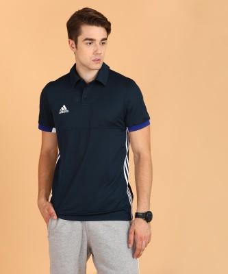 ADIDAS Striped Men Polo Neck Black T-Shirt