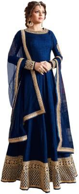 Mert India Silk Embroidered Semi-stitched Salwar Suit Dupatta Material