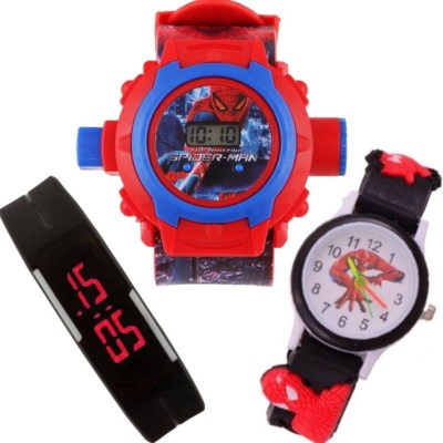 Crazy Look Beautiful Combo (Pack Of 3) Black Pipe Spider-Man & Spider Man Projector 24 Crids Kids Watch & Boys Analog-Digital Watch  - For Boys