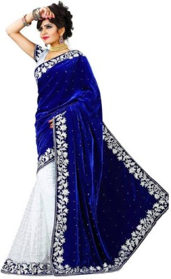 SNH Export Embellished, Embroidered Bollywood Velvet Saree