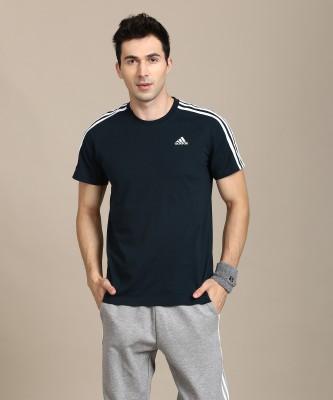 ADIDAS Solid Men Round Neck Dark Blue T-Shirt