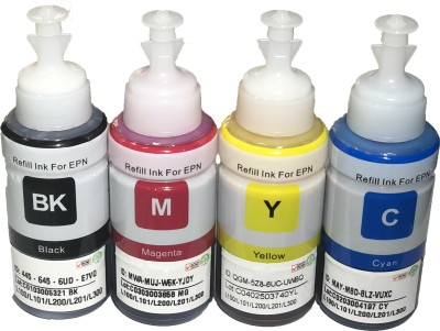 UV Refill Ink Compatible For Epson Printers L100, L110, L130, L200, L210, L220, L300, L310, L350, L355, L360, L365, L455, L550, L555, L565, L1300 - 70 ML Each Bottle Multi Color Ink (Cyan, Magenta, Yellow, Black) Multi Color Ink Cartridge