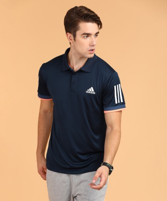 ADIDAS Solid Men Polo Neck Dark Blue T-Shirt