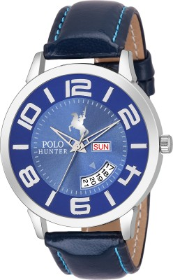 POLO HUNTER 1133- Blue Day and Date Strap Watch  - For Men