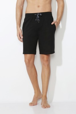Van Heusen Solid Men's Black Basic Shorts