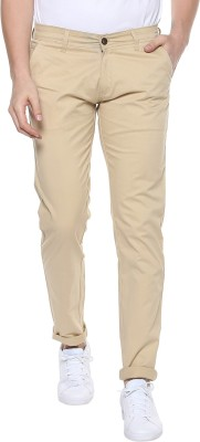 Urbano Fashion Slim Fit Men Cream Trousers