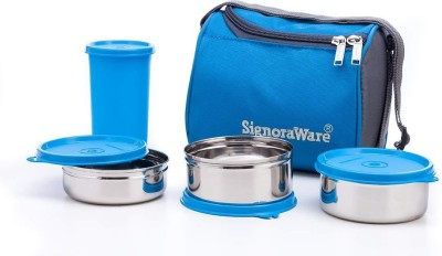 Signoraware Best steel lunch box 3 containers and tumbler 1300 ml 3 Containers Lunch Box
