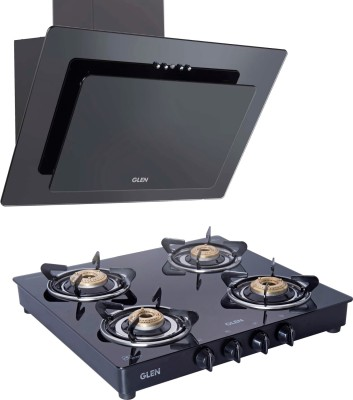 GLEN Designer Kitchen Chimney 60cm Baffle Filter Push Button Control Black Glass with 4 Brass Burner Cooktop Combo ( 6079 PB 1000+1043 GT BB ) Wall Mounted Chimney
