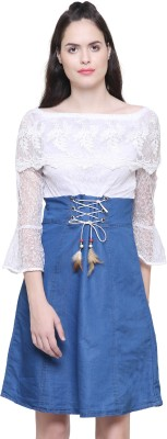 Fashion Village1 Women Fit and Flare White, Blue Dress