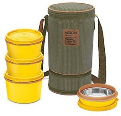 Milton Flexi Insulated Tiffin, 4 Containers, 200, 350, 500 ml, Yellow 3 Containers Lunch Box