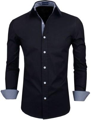 Zombom Men's Solid Casual Black Shirt