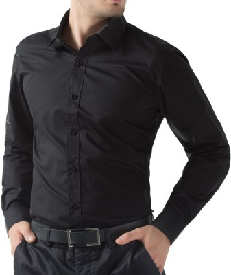 Deeksha Men Solid Casual Black Shirt