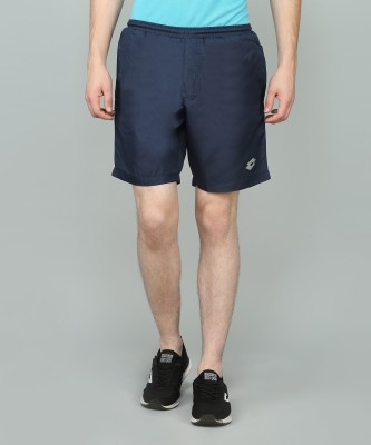Lotto Solid Men's Dark Blue Sports Shorts