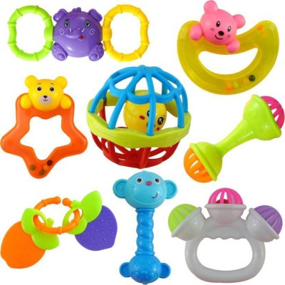 spincart Lovely Mixed Attractive Colourful Non Toxic Rattles for Babies, Toddlers, Infants, Child - Set of 8 Rattle