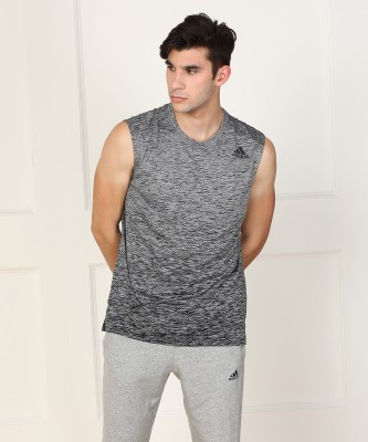ADIDAS Printed Men's Round Neck Grey T-Shirt