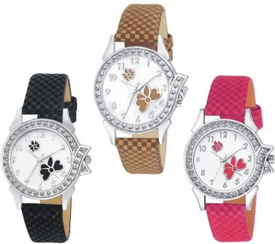 Aaradhya Fashion Stylish Flower Print Dial Pink & Black & Brown Chex Design Leather Belt Watch 3 Pec Combo Watch  - For Women