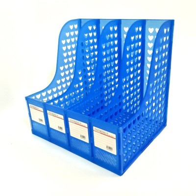 divinezon 4 Compartments Plastic 4 Compartments file rack (Blue)