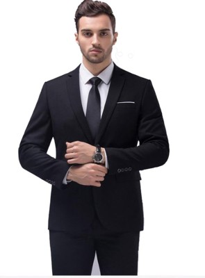 One Click Solid Single Breasted Formal Men Blazer