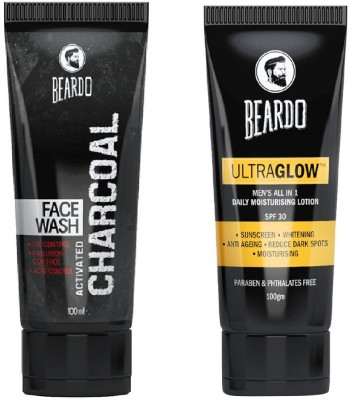Beardo Activated Charcoal Face Wash and Ultraglow Face Lotion for Men