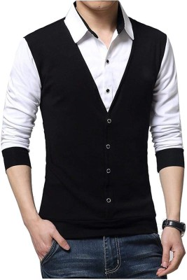 Try This Solid Men's Polo Neck Black, White T-Shirt