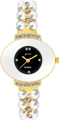 AMN-761 BLACK DIAL MOTI STUDDED ANALOG WATCH FOR WOMEN Watch  - For Girls