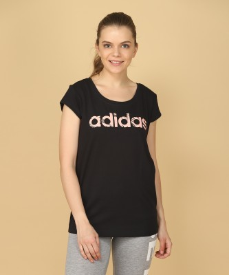 ADIDAS Printed Women's Round Neck Black T-Shirt