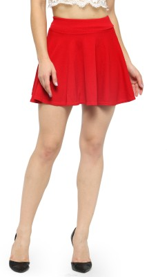 N-Gal Solid Women Flared Red Skirt
