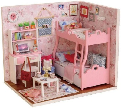 Webby Wooden DIY Kids Miniature Bedroom Doll House with Lights, Pink