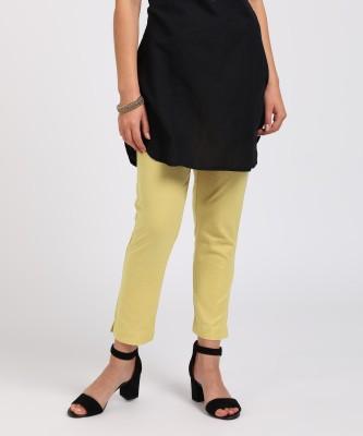 Aurelia Slim Fit Women's Yellow Trousers