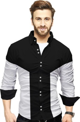 Tripr Men Colorblocked Casual Black, White Shirt