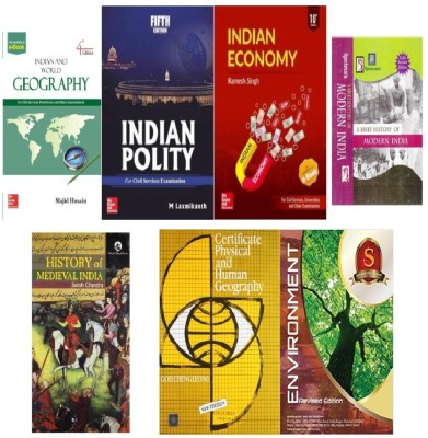 UPSC Combo, Indian Economy By Ramesh Singh,indian Polity By M Laxmikanth,spectrum A Brief History Of Modern India,Indian And World Geography By Majid Hussain,History Of Medieval India By Satish Chandra,Environment By Shankar,Certificate Physical And Human Geography By Goh Cheng Leong (7 BEST BOOK COMBO FOR CIVIL SERVICES EXAM,IAS,IPS,IFS,IRS,PSC,UPSC,PRELIMS,MAINS,CSAT,Best Author For UPSC EXAM) (ENGLISH MEDIUM)