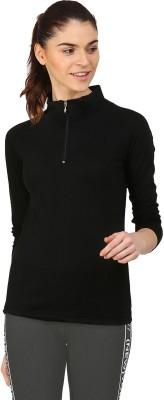 Ap'pulse Solid Women Mock Neck Black T-Shirt