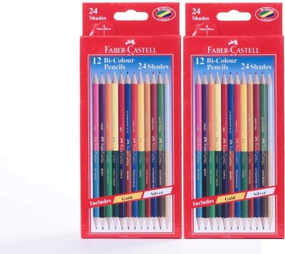 Faber-Castell Bi-color Pencils Pack of 2 - 24 Shades 2 Colors In 1 Includes Gold & Silver Superior Break Resistance Hexagonal Shape Shaped Color Pencils