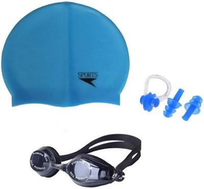 L'AVENIR Swimming Cap & Goggles, Ear & Nose Plug Swimming Kit