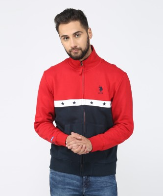 U.S. Polo Assn Full Sleeve Self Design Men's Sweatshirt