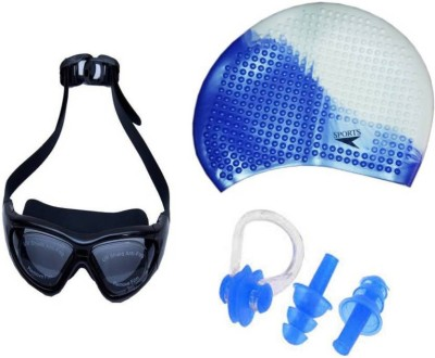 Lord Premium Combo of Goggle, Bubble Cap and Ear Plug and Nose Clip Swimming Kit