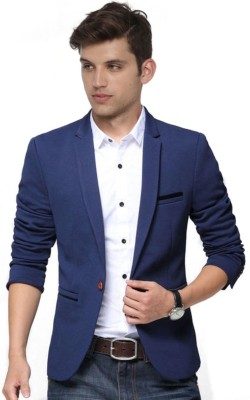 One Click Solid Single Breasted Party Men Blazer
